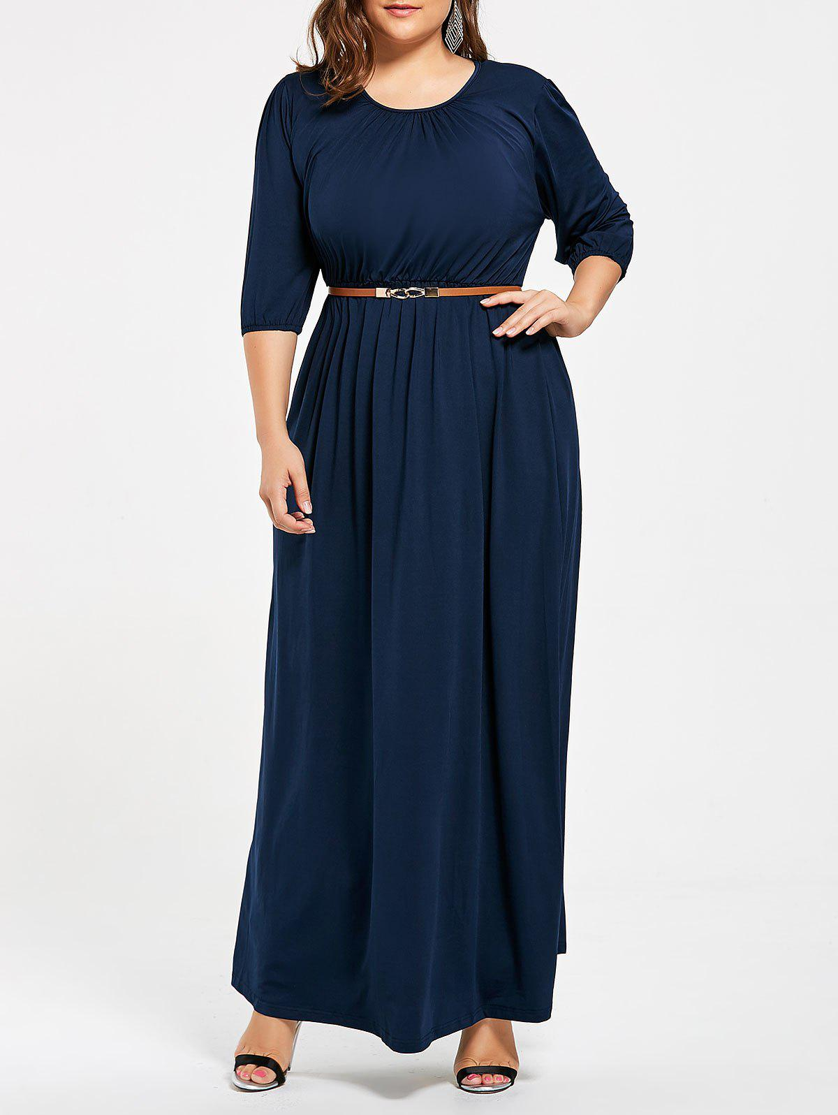 Ruched Plus Size Maxi Party Dress with BeltWOMEN<br><br>Size: 2XL; Color: CERULEAN; Style: Brief; Material: Cotton Blend,Polyester; Silhouette: A-Line; Dresses Length: Floor-Length; Neckline: Scoop Neck; Sleeve Length: 3/4 Length Sleeves; Waist: High Waisted; Pattern Type: Solid Color; With Belt: Yes; Season: Fall,Spring; Weight: 0.5500kg; Package Contents: 1 x Dress 1 x Belt;