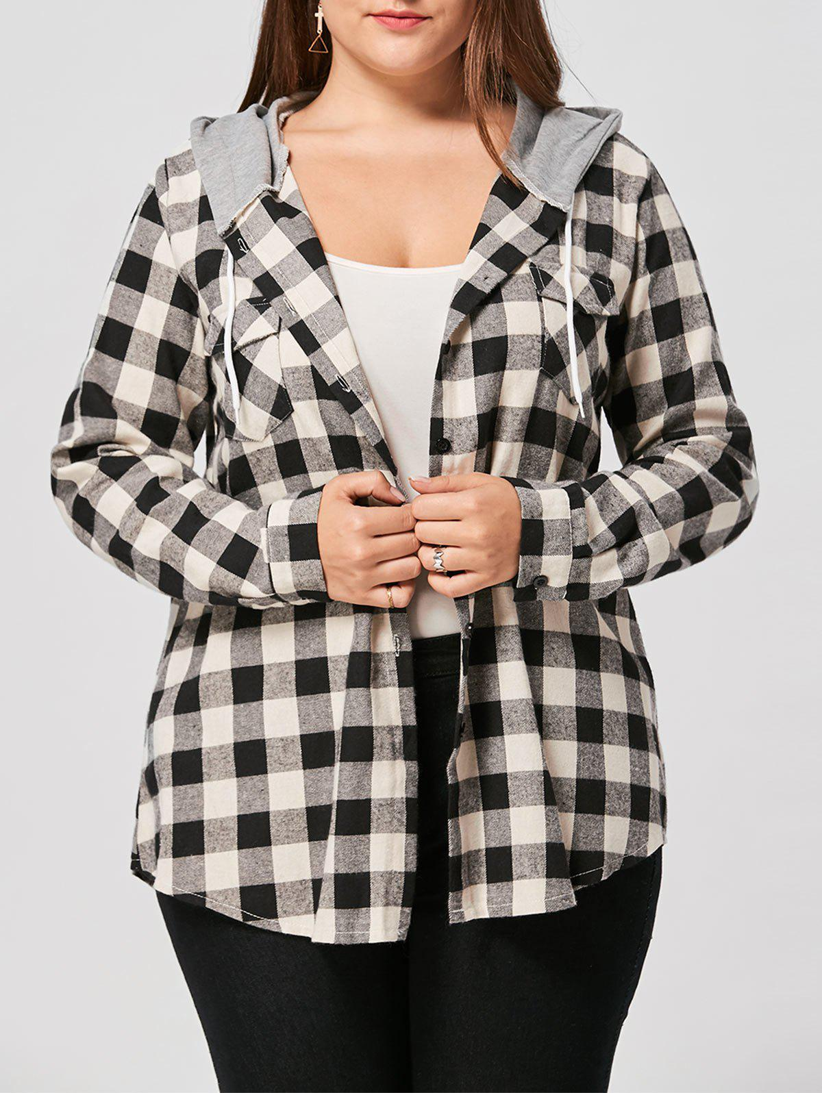 Plus Size Drawstring Neck Plaid Shirt HoodieWOMEN<br><br>Size: 5XL; Color: COLORMIX; Material: Polyester,Spandex; Shirt Length: Long; Sleeve Length: Full; Style: Casual; Pattern Style: Plaid; Season: Fall,Spring; Weight: 0.3700kg; Package Contents: 1 x Hoodie;