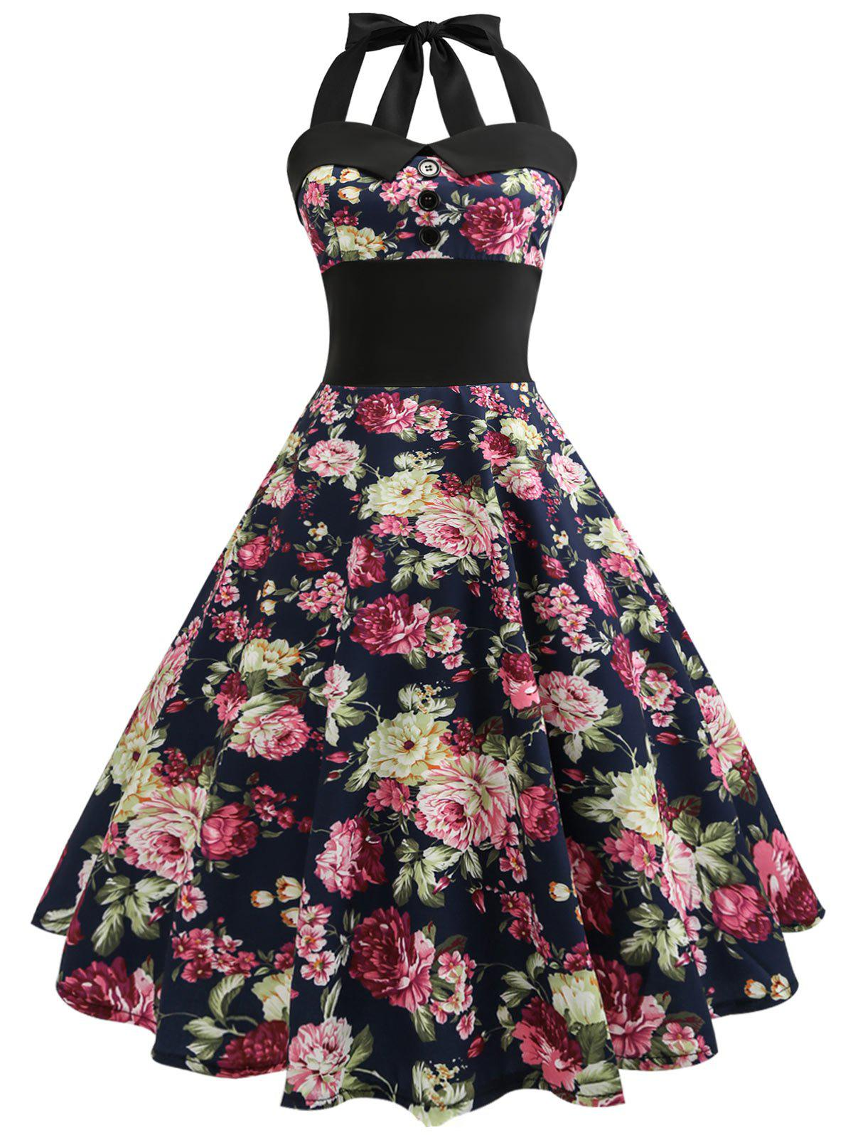 Shops Vintage Halter Floral 50s Swing Dress