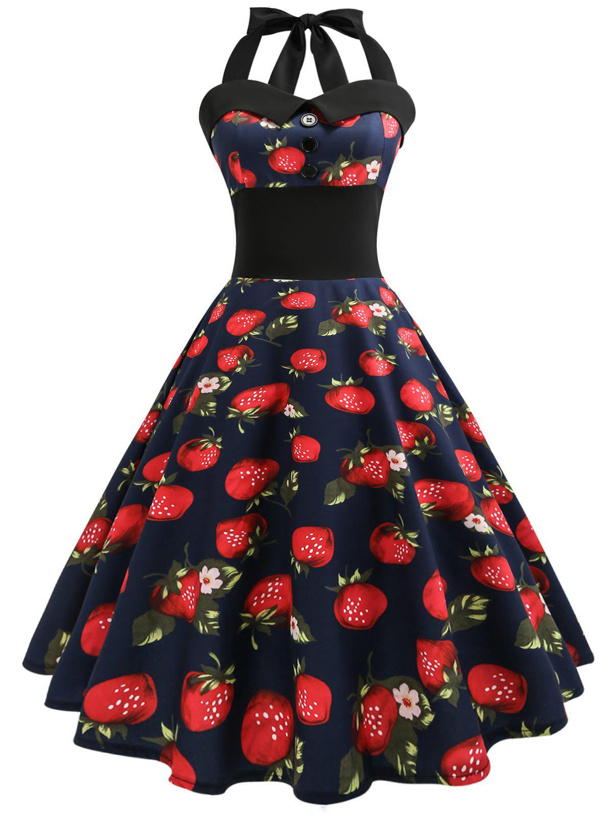 Outfits Halter Strawberry Print Vintage Pin Up Dress