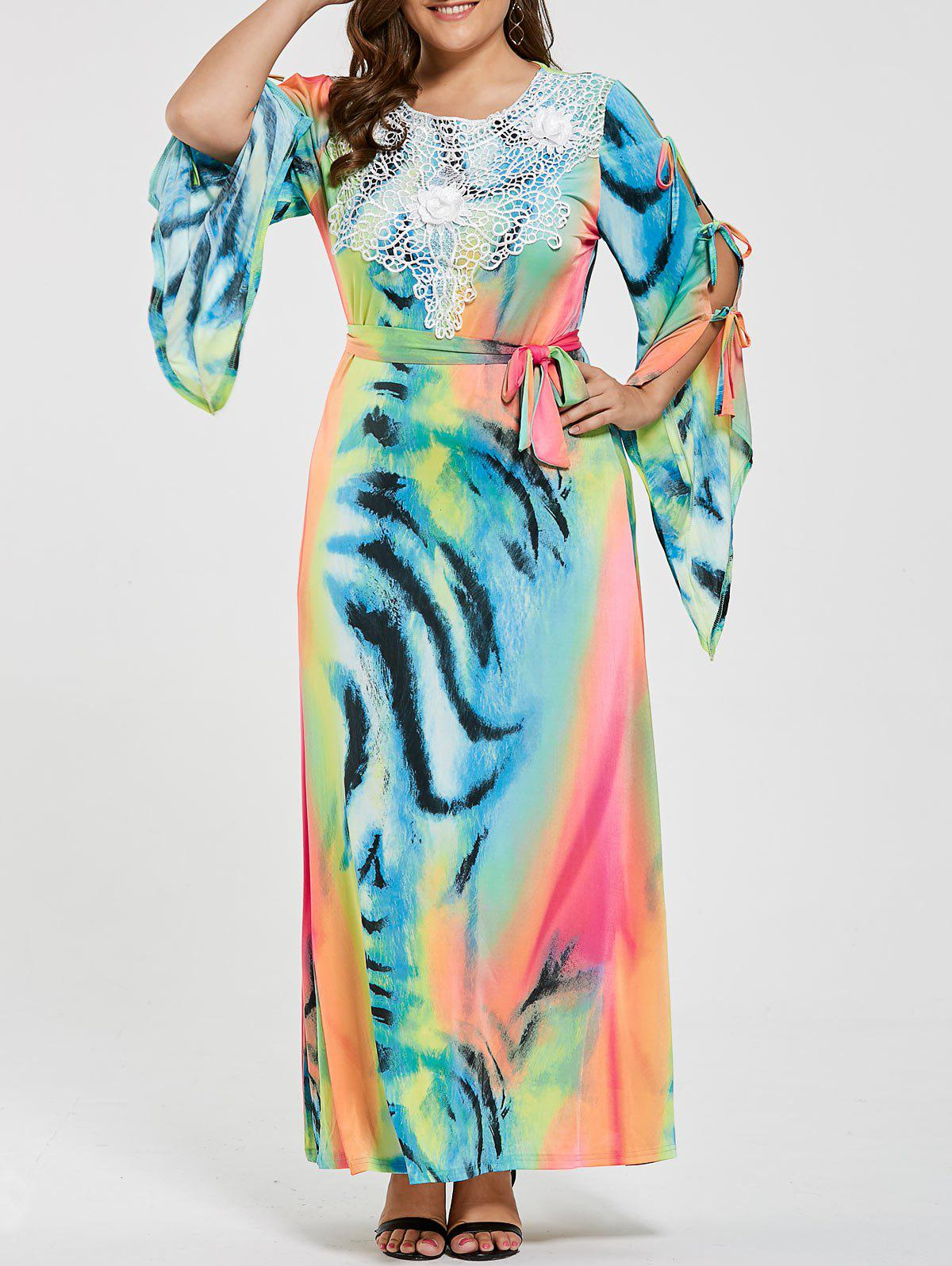 Chic Ombre Printed Slit Sleeve Plus Size Maxi Dress