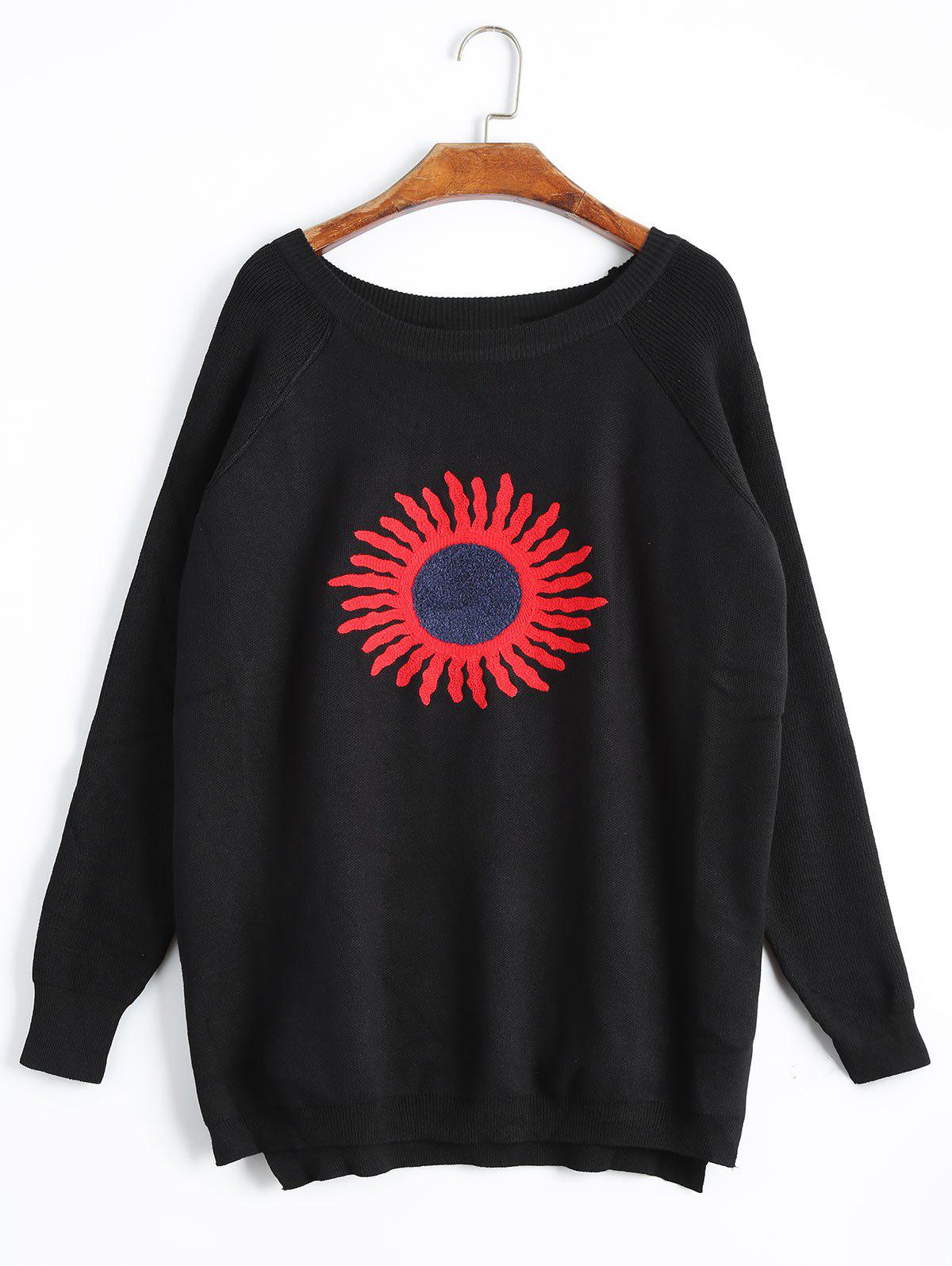 Chic Plus Size High Low Sun Print Raglan Sleeve Knitwear