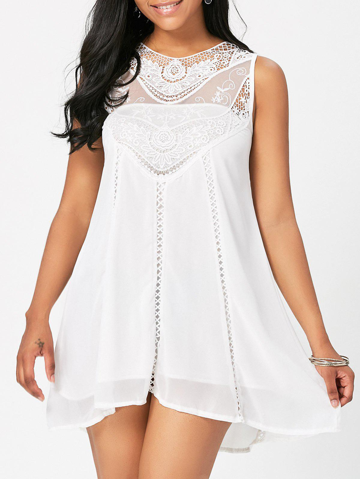 Store Sweet Round Neck White Cut Out Lace Spliced Sundress For Women