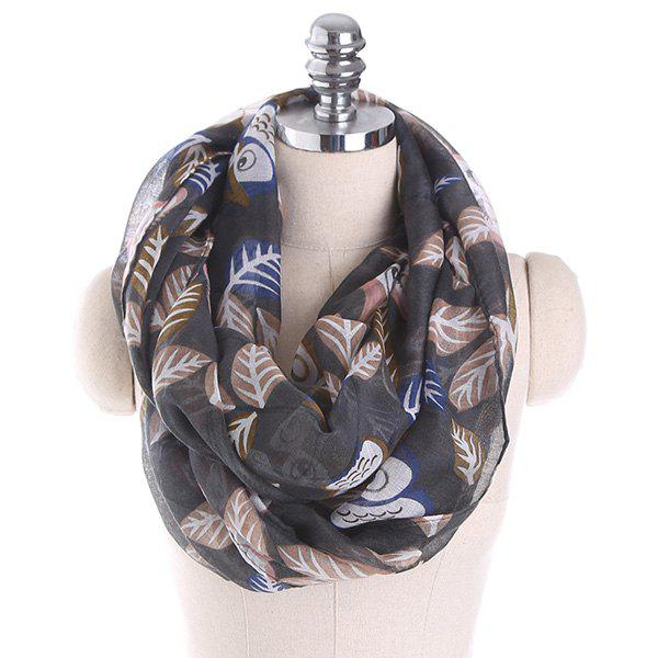 Cartoon Owl Printing Infinity ScarfACCESSORIES<br><br>Color: DEEP GRAY; Scarf Type: Shawl/Wrap; Group: Adult; Gender: For Women; Style: Fashion; Pattern Type: Animal; Season: Fall,Spring,Summer,Winter; Scarf Length: 85CM; Scarf Width (CM): 85CM; Weight: 0.1000kg; Package Contents: 1 x Scarf;