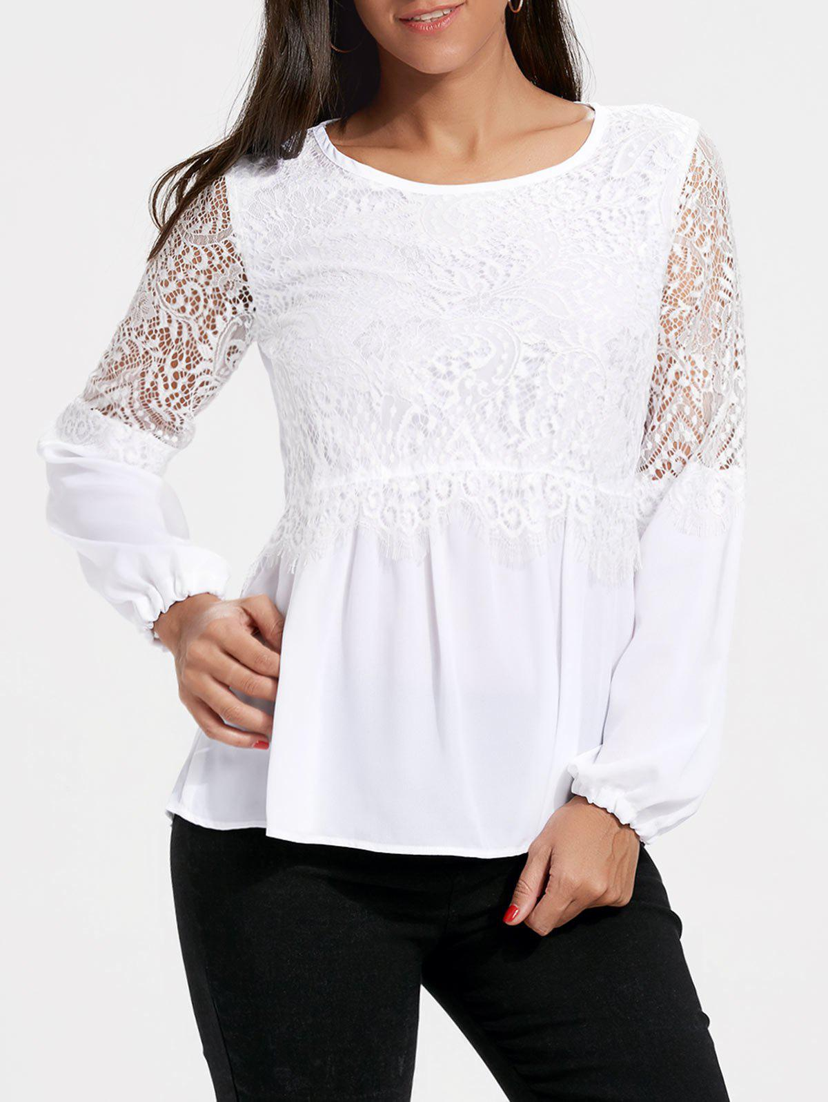 Sale Long Sleeve Chiffon Lace Trim Top