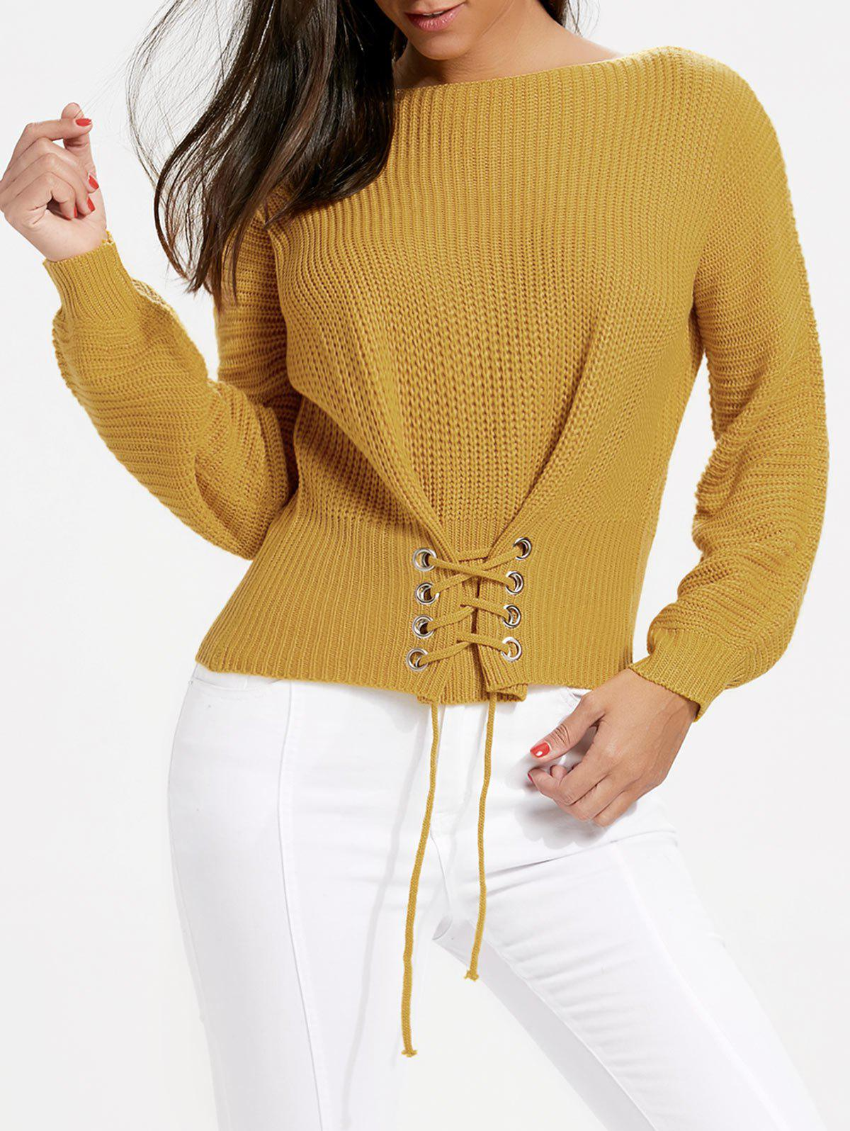 Discount Oversized Boat Neck Lace Up Sweater