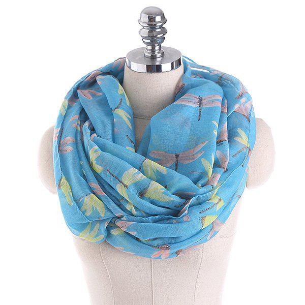 Multicolor Dragonfly Printing Infinity ScarfACCESSORIES<br><br>Color: LAKE BLUE; Scarf Type: Shawl/Wrap; Group: Adult; Gender: For Women; Style: Fashion; Pattern Type: Animal; Season: Fall,Spring,Summer,Winter; Scarf Length: 85CM; Scarf Width (CM): 85CM; Weight: 0.1000kg; Package Contents: 1 x Scarf;