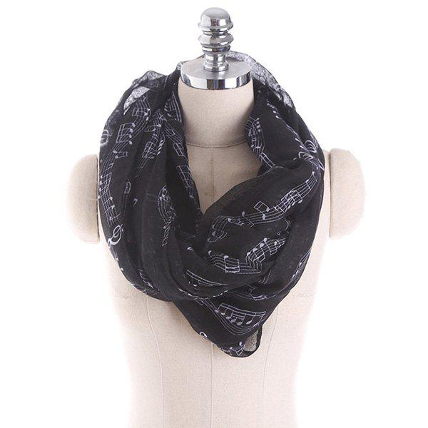 Note Stave Music Element Printed Infinity ScarfACCESSORIES<br><br>Color: BLACK; Scarf Type: Shawl/Wrap; Group: Adult; Gender: For Women; Style: Fashion; Pattern Type: Print; Season: Fall,Spring,Summer,Winter; Scarf Length: 85CM; Scarf Width (CM): 85CM; Weight: 0.1000kg; Package Contents: 1 x Scarf;