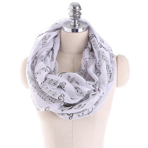Note Stave Music Element Printed Infinity ScarfACCESSORIES<br><br>Color: BLACK WHITE; Scarf Type: Shawl/Wrap; Group: Adult; Gender: For Women; Style: Fashion; Pattern Type: Print; Season: Fall,Spring,Summer,Winter; Scarf Length: 85CM; Scarf Width (CM): 85CM; Weight: 0.1000kg; Package Contents: 1 x Scarf;