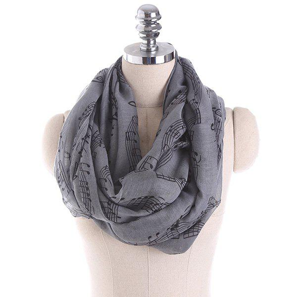 Chic Note Stave Music Element Printed Infinity Scarf
