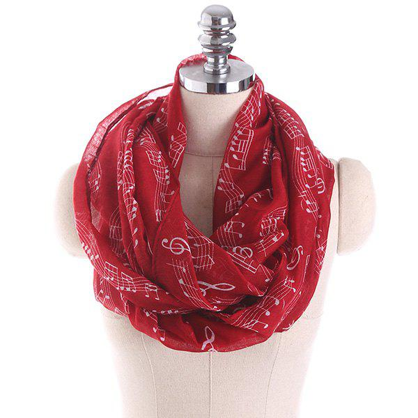 Note Stave Music Element Printed Infinity ScarfACCESSORIES<br><br>Color: WINE RED; Scarf Type: Shawl/Wrap; Group: Adult; Gender: For Women; Style: Fashion; Pattern Type: Print; Season: Fall,Spring,Summer,Winter; Scarf Length: 85CM; Scarf Width (CM): 85CM; Weight: 0.1000kg; Package Contents: 1 x Scarf;