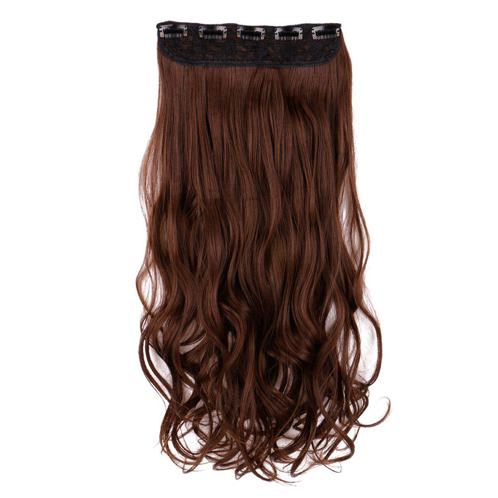 Heat Resistant Synthetic Long Wavy Clip In Hair ExtensionHAIR<br><br>Size: 60CM; Color: BROWN; Hair Extension Type: Clip-In/On; Style: Wavy; Fabric: Synthetic Hair; Length: Long; Weight: 0.1300kg; Package Contents: 1 x Hair Extension; Length Size(CM): 60;