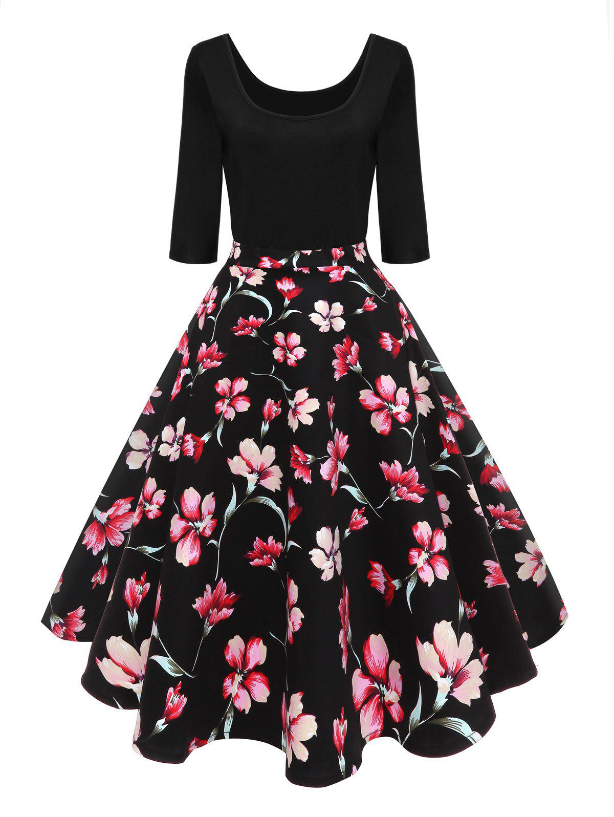 Chic Vintage U Neck Floral Pin Up Dress