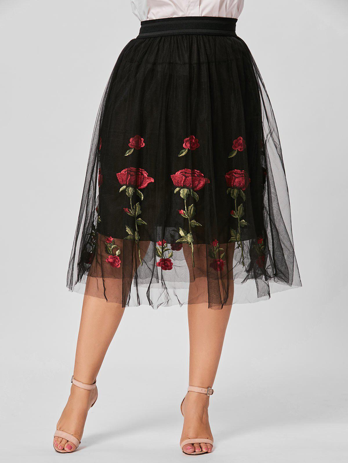 Floral Embroidered Mesh Plus Size SkirtWOMEN<br><br>Size: 3XL; Color: BLACK; Material: Polyester; Length: Mid-Calf; Silhouette: A-Line; Pattern Type: Floral; Season: Fall,Summer; Weight: 0.2750kg; Package Contents: 1 x Skirt;