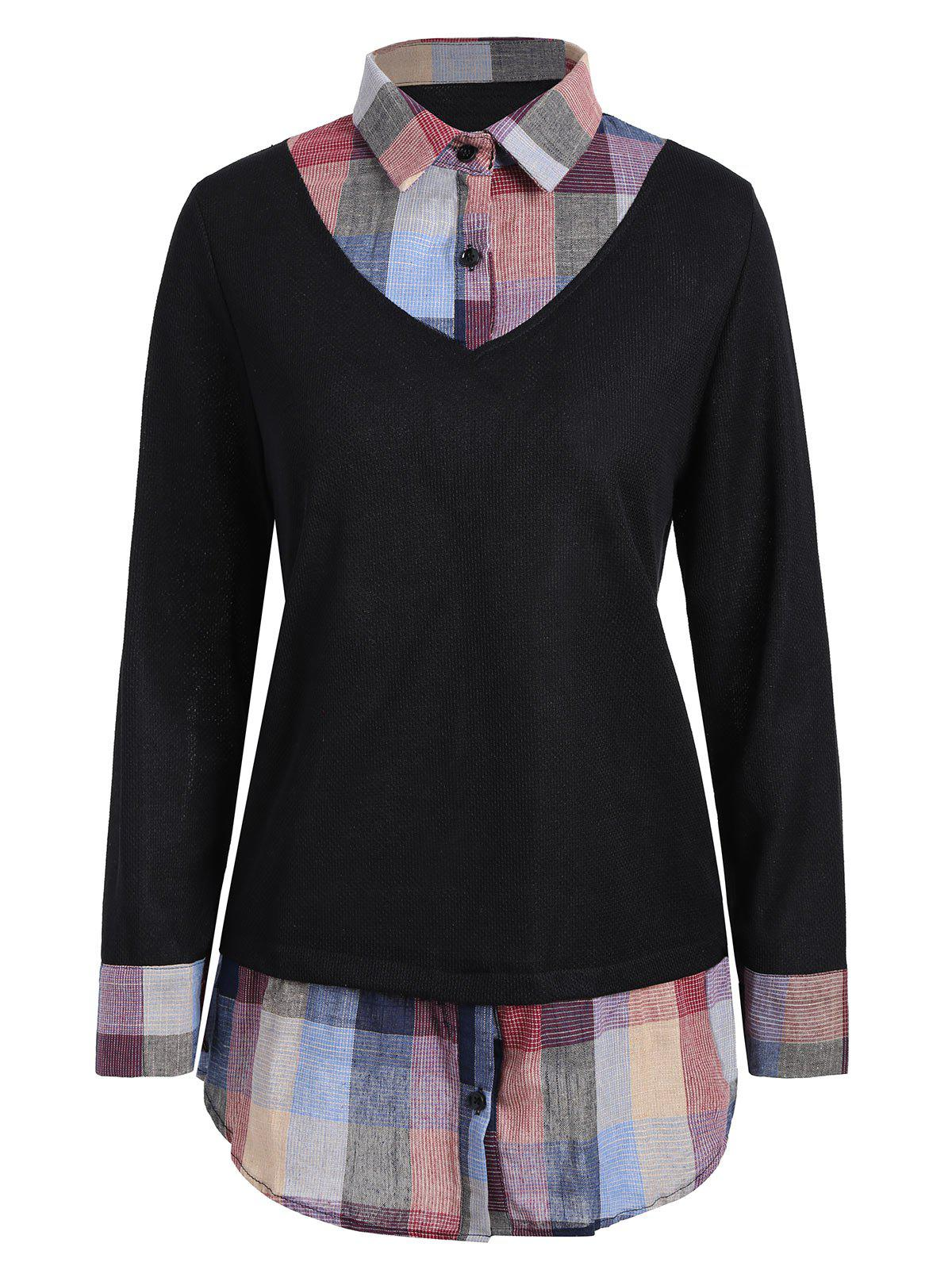 Affordable Checked Panel Plus Size Sweater