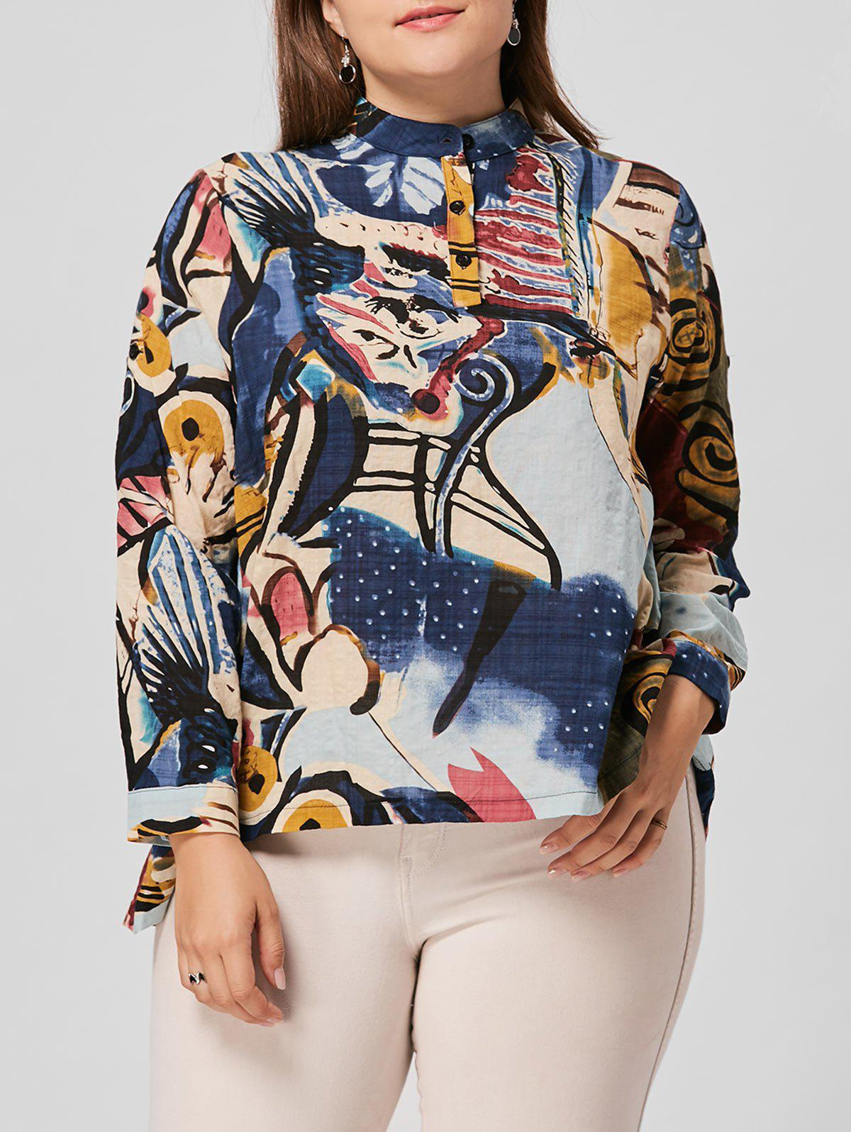329e0a825e4 Trendy Floral Print High Low Plus Size Blouse