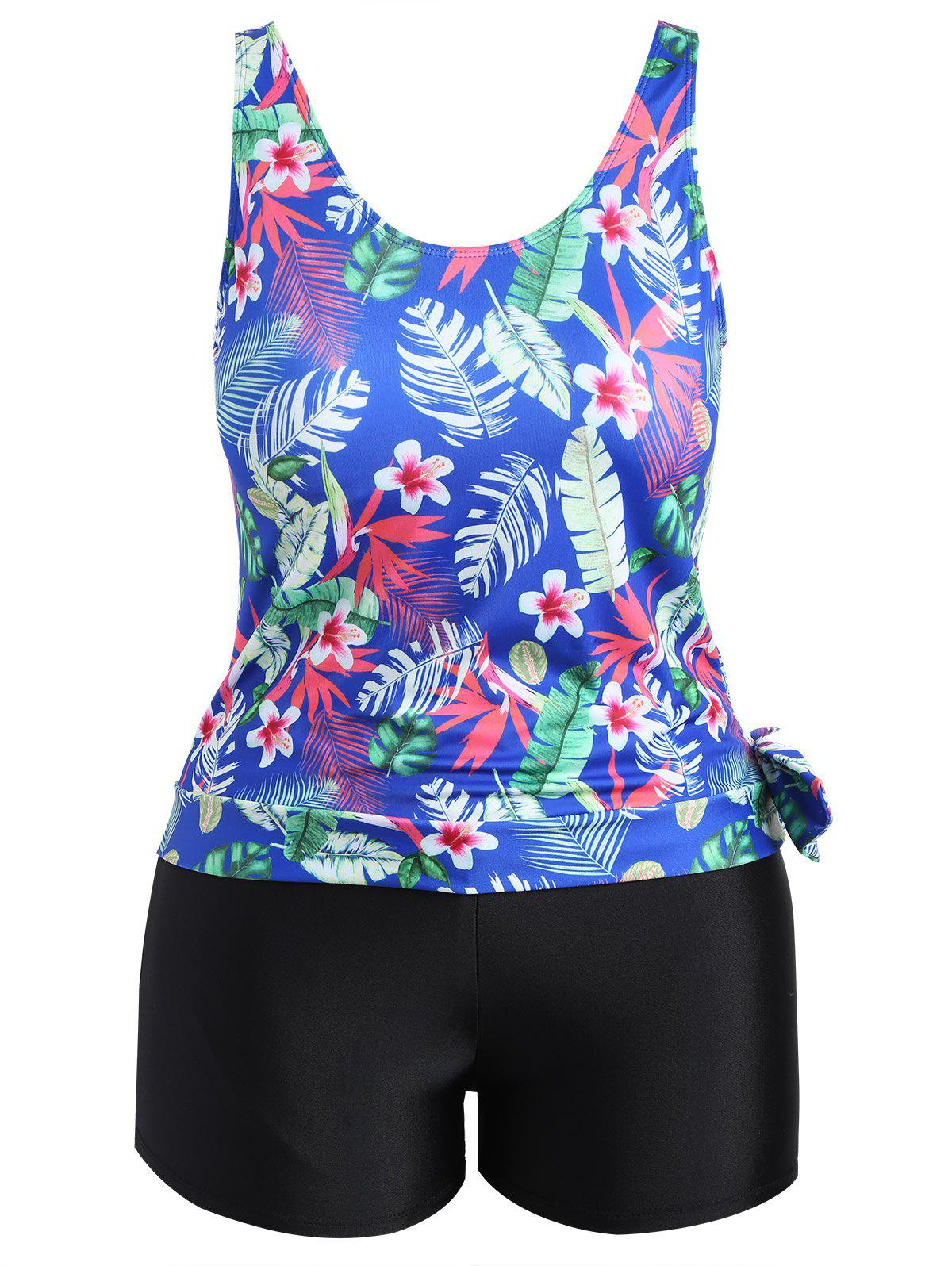 Plus Size Tropical Leaf Floral Print Tankini SetWOMEN<br><br>Size: 2XL; Color: BLUE; Gender: For Women; Swimwear Type: Tankini; Material: Polyester,Spandex; Bra Style: Padded; Support Type: Wire Free; Pattern Type: Floral; Waist: Natural; Weight: 0.3250kg; Package Contents: 1 x Top 1 x Bottom;