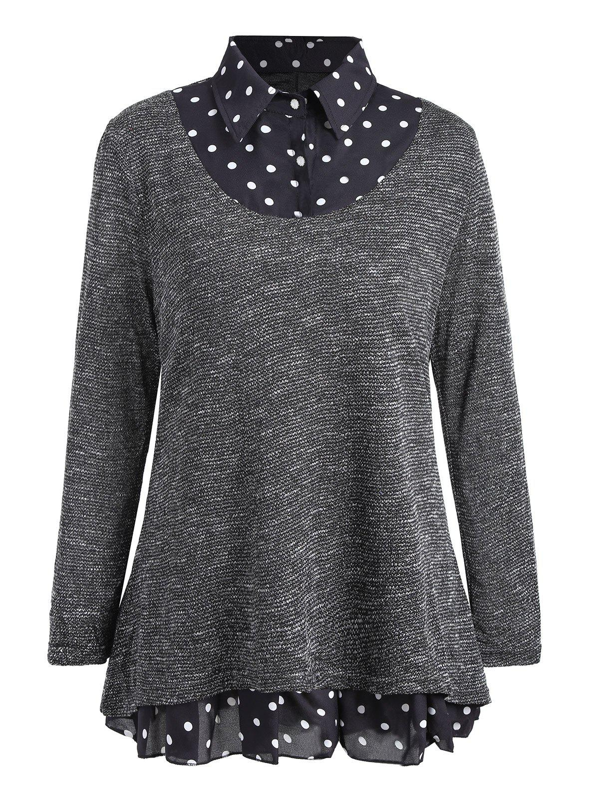 Plus Size Overlay Polka Dot Knit TopWOMEN<br><br>Size: 4XL; Color: GRAY; Type: Pullovers; Material: Acrylic,Polyester; Sleeve Length: Full; Collar: Shirt Collar; Style: Fashion; Season: Fall,Spring; Pattern Type: Polka Dot; Weight: 0.3300kg; Package Contents: 1 x Knit Top;