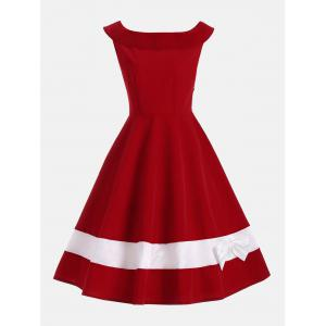 Bowknot Embellished Color Block Sleeveless Vintage Dress