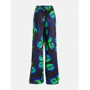 Plus Size High Waist Butterfly Palazzo Pants - COLORMIX 3XL