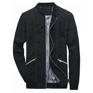 Pleated Zip Up Bomber Jacket