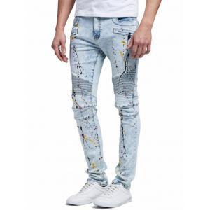 Splatter Paint Straight Biker Jeans - Blue - 38