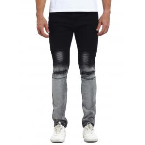 Faded Knee Broken Biker Jeans - Black - 34