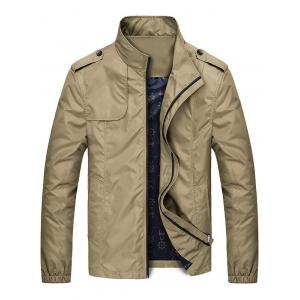 Epaulet Design Zip Up Jacket