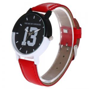 Number 13 Face Faux Leather Strap Watch -