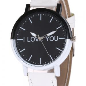 I Love You Faux Leather Strap Watch -