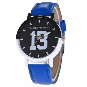 Number 13 Face Faux Leather Strap Watch