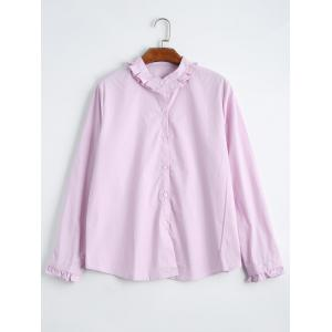 Ruffle Neck Plus Size Shirt