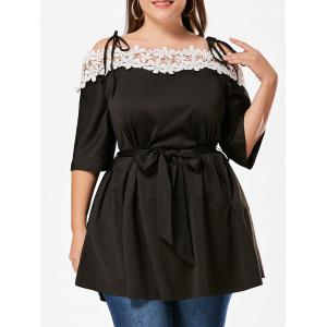 Floral Applique Cold Shoulder Plus Size Dress