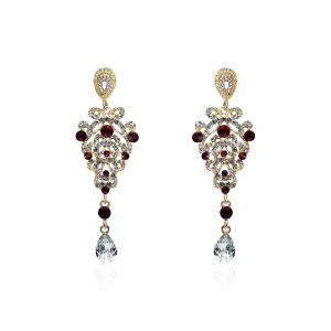 Rhinestone Baroque Style Stud Pendant Earrings