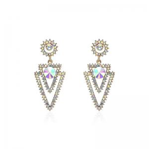 Rhinestone Inverted Triangle Stud Pendant Earrings