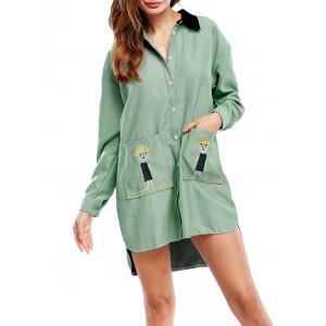 Long Sleeve Asymmetric Shirt Dress with Pocket