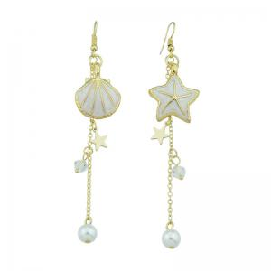 Seashell Starfish Long Fish Hook Earrings