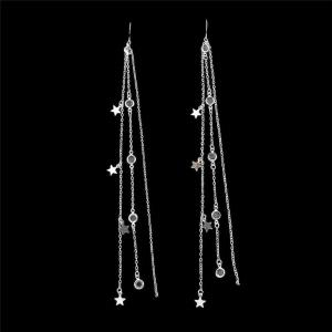 Long Star Tassel Fish Hook Earrings