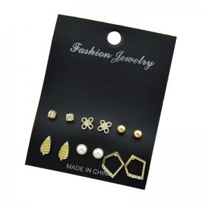 Faux Pearl Geometric Leaf Stud Earring Set