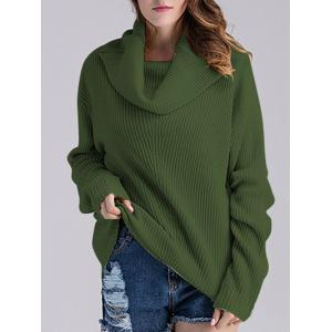 Ribbed Turtleneck Oversized Sweater - Green - One Size