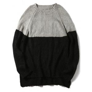 Two Tone Raglan Sleeve Side Slit Sweater