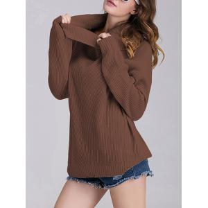 Ribbed Turtleneck Oversized Sweater - COFFEE ONE SIZE