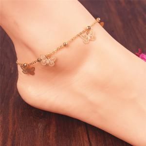 Alloy Butterfly Beads Charm Anklet