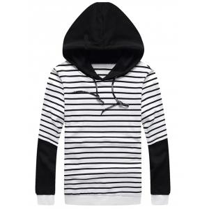 Stripe Insert Pullover Faux Twinset Hoodie