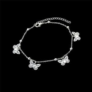 Alloy Butterfly Beads Charm Anklet -