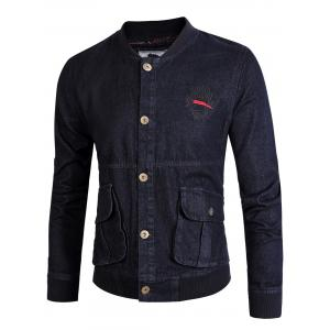 Monkey Embroidered Rib Panel Denim Jacket