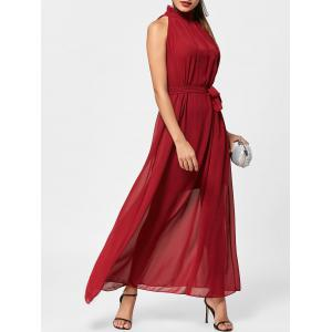 Long Chiffon Ruff Collar Prom Dress - Wine Red - One Size