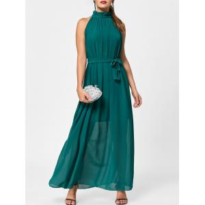 Long Chiffon Ruff Collar Prom Dress - Green - One Size