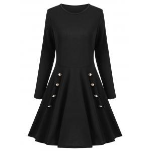 Buttoned A Line Long Sleeves Dress