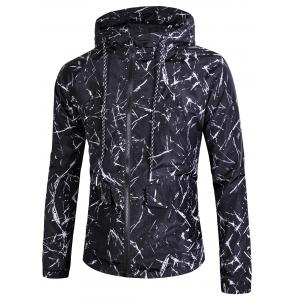 Splatter Paint Print Zip Up Windbreaker